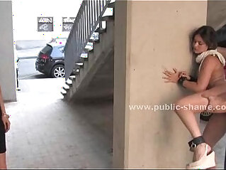 Blonde humiliated in public bondage sex on the streets and on bus in hard anal