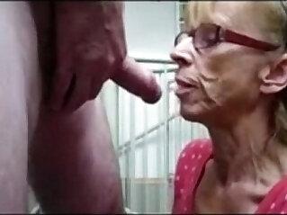 Grandma from gives blowjob